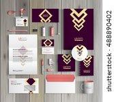 purple corporate identity... | Shutterstock .eps vector #488890402