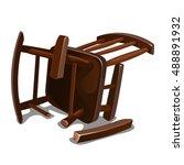 a broken old wooden chair...   Shutterstock .eps vector #488891932