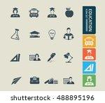 education icon set. vector | Shutterstock .eps vector #488895196