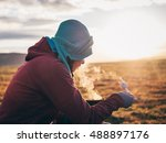 girl cooks with camp stove... | Shutterstock . vector #488897176