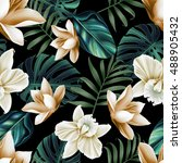 Stock photo seamless tropical flower plant pattern background hawaiian californian florida summer style 488905432