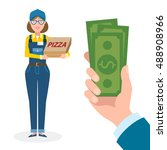 money for delivery. female... | Shutterstock . vector #488908966