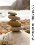round sea stones on top of each ... | Shutterstock . vector #488910778