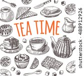 tea time card with elements of... | Shutterstock .eps vector #488912926