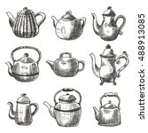Set Of Different Teapots. Hand...