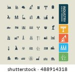 industry icon set vector | Shutterstock .eps vector #488914318