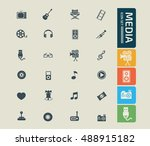 media icon set vector | Shutterstock .eps vector #488915182