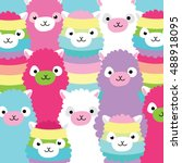 alpaca family portrait | Shutterstock .eps vector #488918095