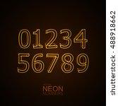neon 3d number set. typography... | Shutterstock .eps vector #488918662