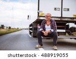senior truck driver posing next ... | Shutterstock . vector #488919055
