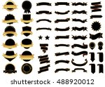 ribbon black gold vector icon... | Shutterstock .eps vector #488920012