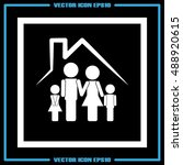 family and house icon vector | Shutterstock .eps vector #488920615