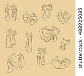 collection of realistic scarf.... | Shutterstock .eps vector #488925085