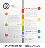vector minimalist cv   resume... | Shutterstock .eps vector #488929102