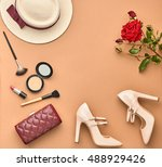 autumn fashion lady accessories ... | Shutterstock . vector #488929426