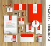 red corporate identity template ... | Shutterstock .eps vector #488929672
