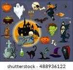 october halloween celebration... | Shutterstock .eps vector #488936122