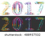 happy new year 2017  dotted... | Shutterstock .eps vector #488937532