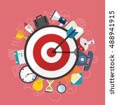 flat illustration of targeting... | Shutterstock .eps vector #488941915