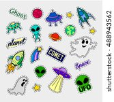 fashion patch badges. ufo set.... | Shutterstock . vector #488943562