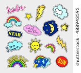 fashion patch badges. sky set.... | Shutterstock . vector #488943592