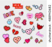 fashion patch badges. hearts... | Shutterstock . vector #488943682