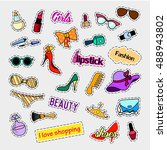 fashion patch badges. fashion... | Shutterstock . vector #488943802