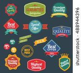 vintage retro flat badges... | Shutterstock .eps vector #488944396