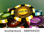 all in online poker chip stack... | Shutterstock . vector #488944435