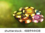 all in online poker chips or... | Shutterstock . vector #488944438