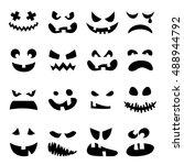 scary halloween pumpkin faces... | Shutterstock .eps vector #488944792