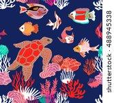 sea life art. seamless vector... | Shutterstock .eps vector #488945338