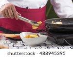 chef decorated vegetarian...   Shutterstock . vector #488945395