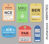 vintage travel luggage tags... | Shutterstock .eps vector #488947852