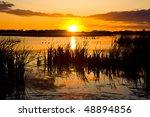 Sun Setting Beyond A Swamp Or...
