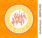 happy diwali greeting card with ... | Shutterstock . vector #488956585