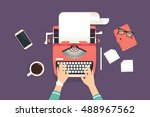 Womans hands typing an article on a vintage typewriter. Flat illustration of working process and author modern workplace. Business background for promotion and blogging | Shutterstock vector #488967562