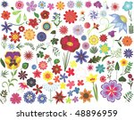 set of colored floral design... | Shutterstock . vector #48896959