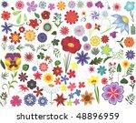 set of colored floral design... | Shutterstock . vector #48896959