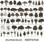 set of black silhouettes of... | Shutterstock . vector #48896968