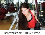 muscular fitness woman doing... | Shutterstock . vector #488974966