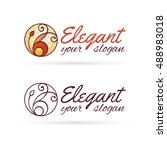 elegant lineart logo design... | Shutterstock .eps vector #488983018