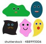 vector set of colored blots... | Shutterstock .eps vector #488995006