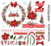 merry christmas new year decor... | Shutterstock . vector #488998366
