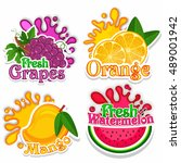 creative stickers of fresh... | Shutterstock .eps vector #489001942