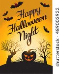 happy halloween night  card... | Shutterstock .eps vector #489003922