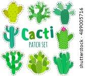 fun patch cactus set. print pin ... | Shutterstock .eps vector #489005716