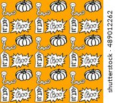 halloween seamless pattern with ... | Shutterstock .eps vector #489012262
