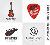 guitar shop  music store set ... | Shutterstock .eps vector #489014056