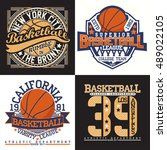 set of creative vintage t shirt ... | Shutterstock .eps vector #489022105